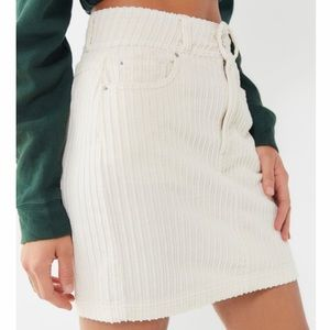 Urban Outfitters white corduroy mini skirt